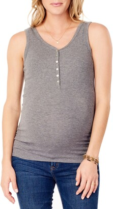 Ingrid & Isabel Ribbed Maternity/Nursing Henley Tank