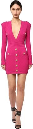 Balmain Fitted Viscose Blend Knit Mini Dress