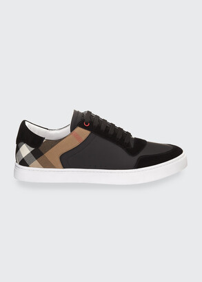Burberry Men's Reeth Leather & House Check Low-Top Sneakers, Black