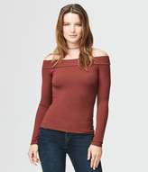 Solid Ribbed Off-The-Shoulder Top