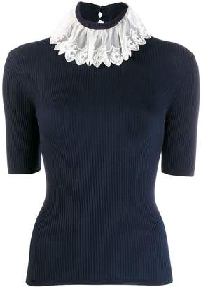 Chloé embellished collar ribbed knitted top