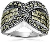 Amazon Collection Sterling Marcasite Cris-Cross Ring, Size 7