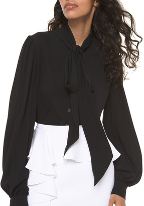 Michael Kors Collection Silk Bowed Long-Sleeve Blouse
