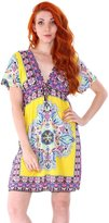Simplicity Women Paisley Print V-Neck Sun Dress Swimsuit Cover up