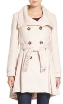 Steve Madden Women's Textured Double Breasted Skirted Coat