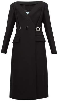 Prada Carabiner Waist Double Breasted Wool Coat - Womens - Black