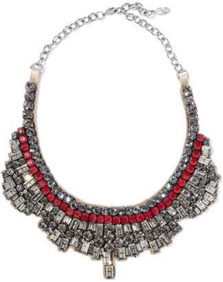 Valentino Garavani Silver-tone, Crystal, Bead And Satin Necklace