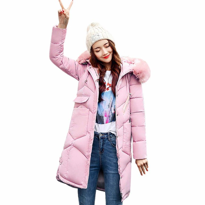 Thumbnail for your product : JERFER Womens Casual Fashion Winter Warm Hooded Coat Long Cotton Padded Jackets Pocket Coats Blue