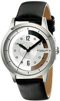 Stuhrling Original Women's Quartz Watch with White Dial Analogue Display and Black Leather Strap 946L.01