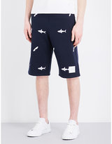 Thom Browne Shark-embroidered Cotton Shorts