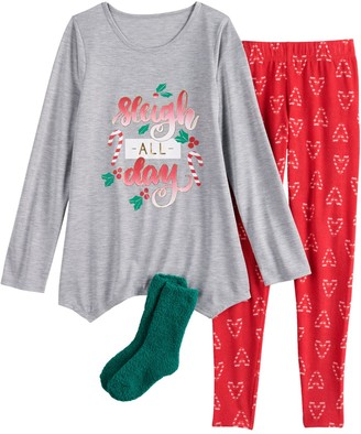 So Girls 4-18 Holiday Top, Leggings & Socks Pajama Set