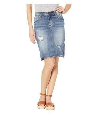 KUT from the Kloth Connie High-Low Skirt w/ Fray Hem in Meditative/Medium Base Wash