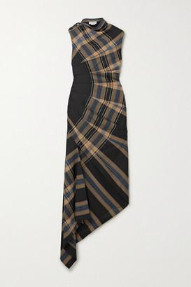 Monse Asymmetric Ruched Checked Stretch-twill Maxi Dress - Black