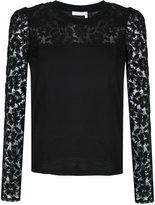See by Chloe lace sleeve top - women - Cotton - S