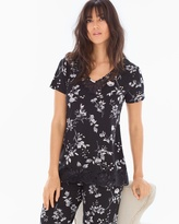 Soma Intimates Lace Trim Short Sleeve Pajama Top Floral Faire Black
