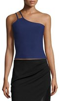 Halston One-Shoulder Crop Top, Aubergine