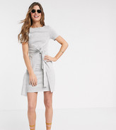 Asos Tall DESIGN Tall tie front textured mini dress in waffle in grey marl