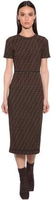 Fendi All Over Logo Intarsia Midi Dress