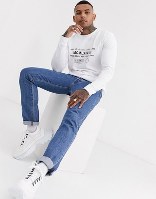 Topman long sleeve t-shirt with text in white
