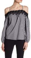 Romeo & Juliet Couture Cold Shoulder Gingham Lace Blouse