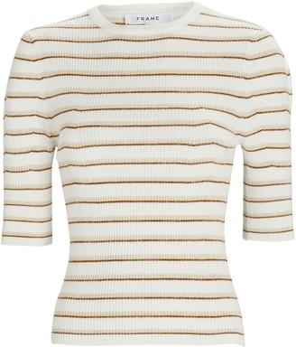 Frame Striped Rib Knit Femme Top