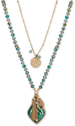 """lonna & lilly Gold-Tone Pave Disc, Stone & Chain Tassel 18"""" Beaded Double-Row Pendant Necklace"""