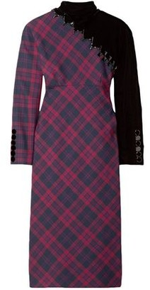 Marc Jacobs Velvet-paneled Embellished Checked Wool Dress