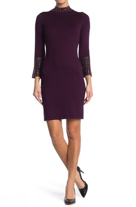 Calvin Klein Mock Neck Bell Sleeve Sweater Dress