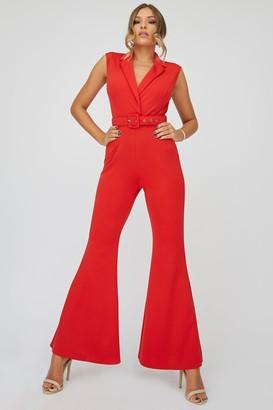 Little Mistress X Zara Mcdermott Red Tuxedo Self-Belt Jumpsuit