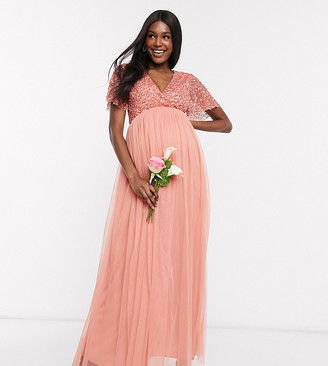 Maya Maternity Bridesmaid wrap front delicate sequin maxi dress with tulle skirt in coral