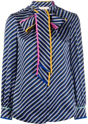 Tory Burch Bow Tie Bias Stripe Blouse