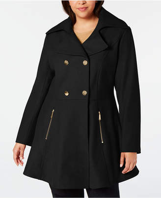 Laundry by Shelli Segal Plus Size Double-Breasted Skirted Coat