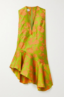 Marques Almeida Marques' Almeida - Asymmetric Frayed Brocade Dress - Chartreuse