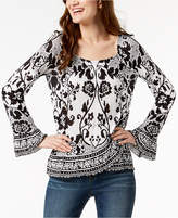INC International Concepts I.n.c. Petite Printed Ruffle-Hem Peasant Top, Created for Macy's