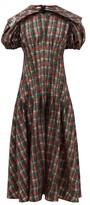 Chopova Lowena - Balloon-sleeve Tartan-print Organza Dress - Womens - Brown Multi