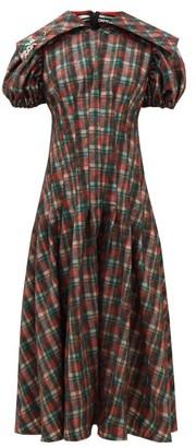 Chopova Lowena - Balloon-sleeve Tartan-print Organza Dress - Brown Multi