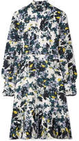 Erdem Bernette Button-detailed Floral-print Silk Crepe De Chine Dress - White