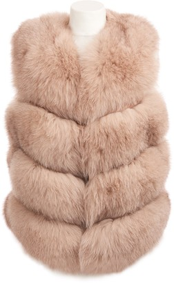 Popski London Chelsea Fox Fur Gilet In Nude