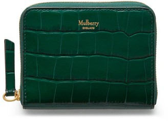 Mulberry Small Zip Around Purse Jungle Green Croc Print