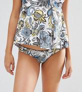 Asos Baroque Paisley Print Plait Detail Bikini Bottom