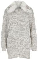 River Island Womens Grey fur collar jersey swing coat