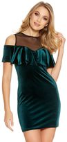 Quiz Green And Black Velvet Mesh Frill Dress