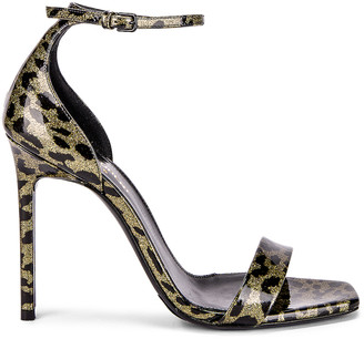 Saint Laurent Amber Leopard Glitter Ankle Strap Sandals in Gold & Black | FWRD