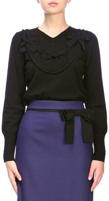 Moschino Sweater V-shaped Jumper With Bows
