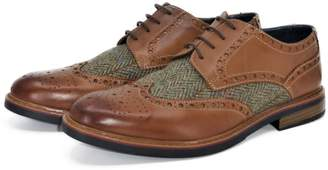 Curito Clothing Curito Winslow Men's Brogue Derby Shoes - Burnished Tan & Tweed