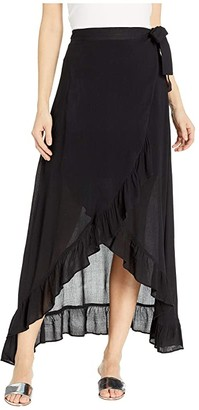 Echo New York Solid Ruffle Wrap Skirt (Black) Women's Skirt