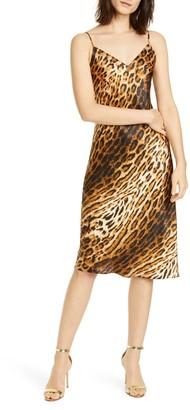 L'Agence Jodie Leopard Print Silk Slipdress