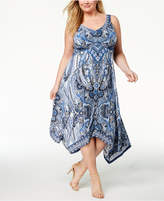 INC International Concepts I.N.C. Plus Size Printed Handkerchief-Hem Dress, Created for Macy's