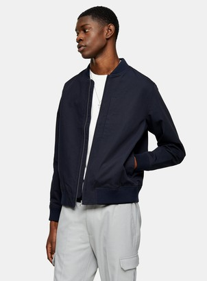 Topman Navy Textured Bomber Jacket