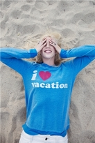 Chaser LA I Heart Vacation Long Sleeve Panel Tee in Pool